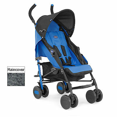 New Chicco Power Blue Echo Pushchair Umbrella Stroller Baby Buggy & Raincover