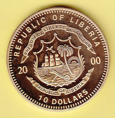 Liberia  10 Dollars  2000  Proof  gold plated color coin