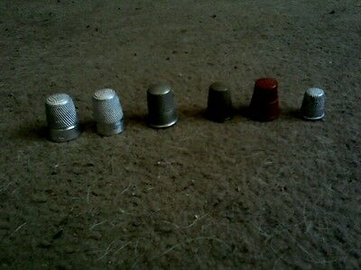 Thimbles-Small Mixed Collection of 6 Dress Making -5 Metal 1 Plastic