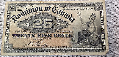Dominion of Canada $25 Cents Paper Money Banknote, Vintage Collector, 1900