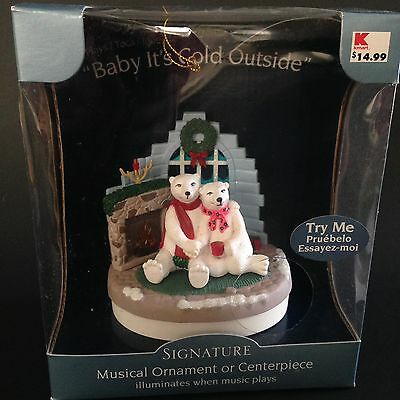 Musical Ornament or Centerpiece Sings Baby It's Cold Outside NOS Polar Bear