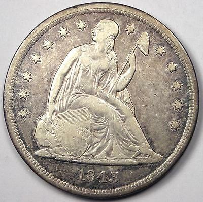 1843 Seated Liberty Silver Dollar $1 - Sharp Details - Rare Early Type Coin!