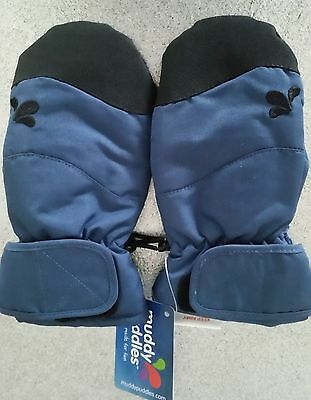 MUDDY PUDDLES navy blue Everyday mittens Age 4-6
