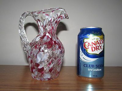 Vintage Glass Cranberry White Spatter End of Day Pitcher Vase Handle Diamond
