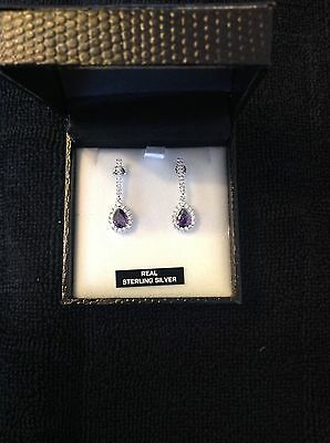 BEAUTIFUL SILVER EARRINGS with purple stones - NEW WITH BOX AND GIFT BAG