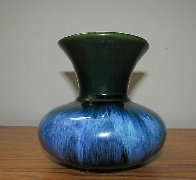 "Vintage Blue Mountain Pottery Rare Color ? Blue Green 5"" Short Round Stubby Vase"