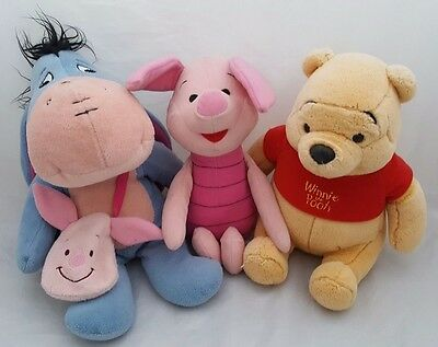"""Eeyore, Piglet And Winnie The Pooh Plush Toys All Approx 11"""""""