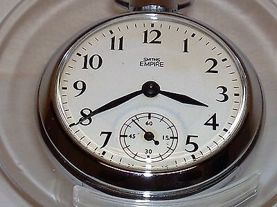 RARE VINTAGE  1950s SMITHS  POCKET  WATCH WITH EMBOSSED STEAM  TRAIN ON BACK