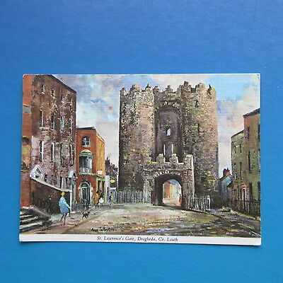Old Postcard of a painting of St. Lawrence's Gate, Drogheda, Co. Louth.