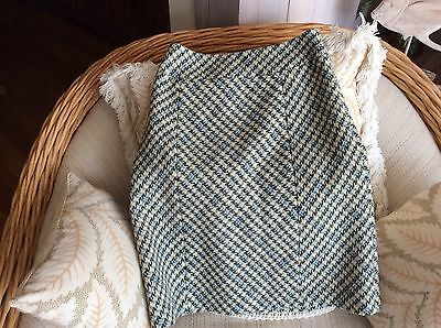 NEW ANN TAYLOR 6 Green/white/blue plaid wool a line skirt lined FREE SHIP NWT