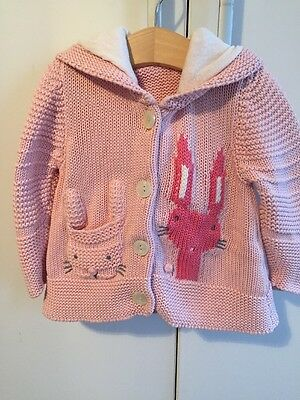 Baby Girl Next Chunky Knit Pastel Pink Bunny Cardigan With Hood & Ears 9-12 Mths