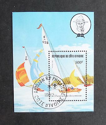 Ivory Coast 1982 Boy Scouts MS725 miniature sheet MS sailing boat fine used