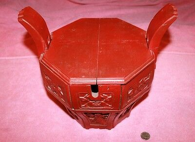 Vintage Red Chinese Rice Box Basket Wood Bucket with Lid Carved Panels