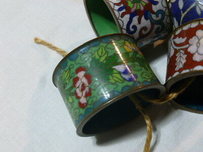Set 4 Chinese  Brass Cloisonne Enamel Floral Napkin Rings Holders Multi Colored