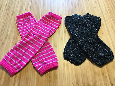 Girls Leg Warmers Pink 2 Pairs In Pink And Black