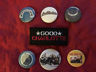 GOOD CHARLOTTE lot - embroidered patch and 6 pins/buttons