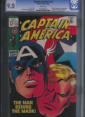 Captain America # 114 CGC 9.0  White Pages. UnRestored.