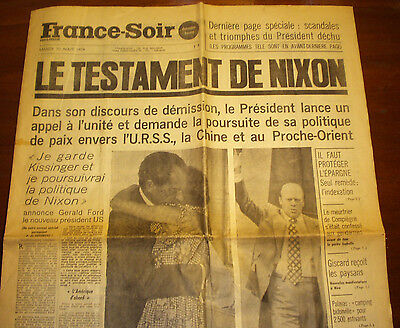NIXON RESIGNATION MEMORABILIA, French reaction in print at the time