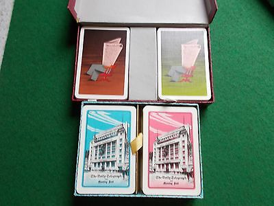 2 double packs vintage playing cards -Telegraph and FT