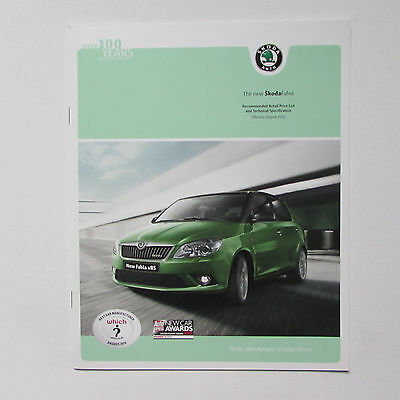Skoda Fabia RRP List and Technical Specification Brochure (2010) including vRS