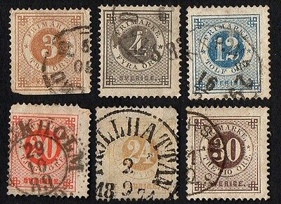 Sweden stamps.  1877 -1878 Numerals in Circle. Cancelled
