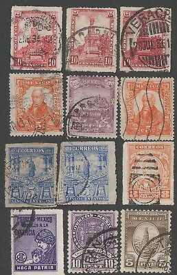 Mexico. 12 early Mexican stamps. Cancelled