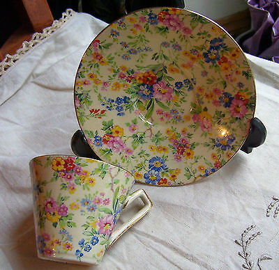 """Vintage """"floral Feast """" Chintz Cup And Saucer"""