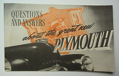 1949 PLYMOUTH - Questions & Answers Booklet - Dealership Salesmans Brochure