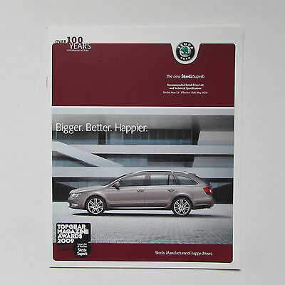 Skoda Superb RRP List and Technical Specification Brochure (2010)