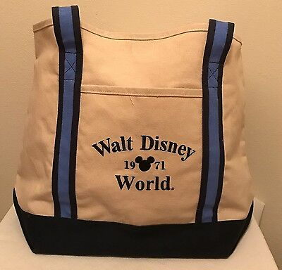 Walt Disney World Natural & Blue Canvas Tote Bag Mickey Mouse 1971