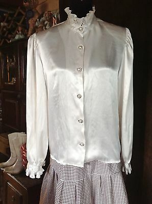 Ladies Silky Cream White Blouse Western or other Re-enactment