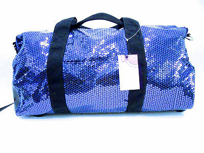 Duffle Bag Sequin Blue Bling Luggage  Women Girls Cheer Gym Sport Travel