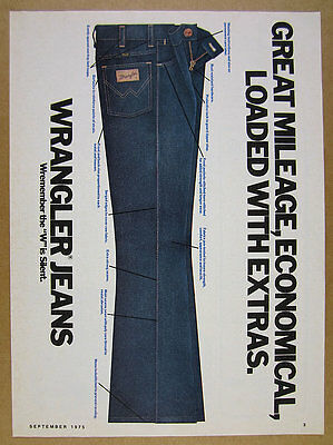 1975 Wrangler Blue Jeans illustration art vintage print Ad