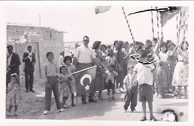 Cyprus Postcard Turkish Villagers Demonstration During Eoka Period Flags