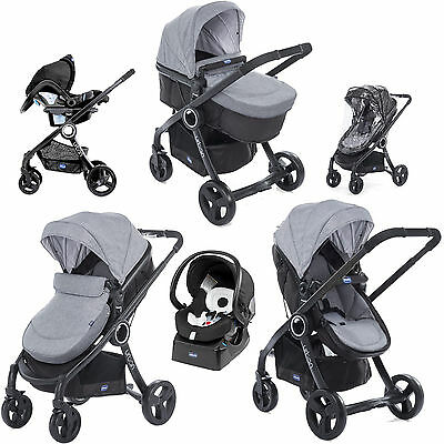 Chicco Urban Plus Travel System Legend Pram / Pushchair Mode With Raincover