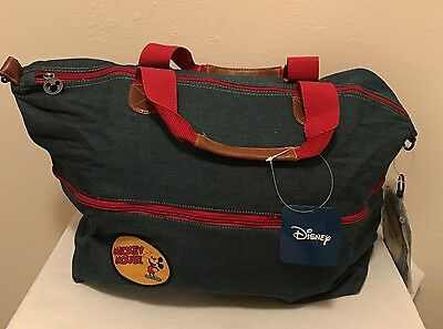 New Classic Mickey Mouse Denim Expandable Tote Shoulder Travel Bag Disney Blue