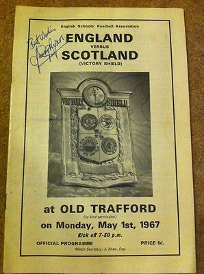 England Vs Scotland Victory Shield Programme 1967 Signed