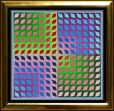 Victor Vasarely Original Collage On Board Signed Modern Op Illusion Art Painting