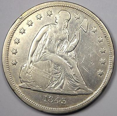 1843 Seated Liberty Silver Dollar $1 - XF/AU Details - Rare Early Type Coin!