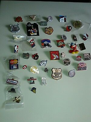 Pinback Collection Of 40 Includes World Series  Cfl Olympics Nhl Disney Superman