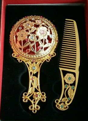 Vintage Decorative Oriental Crystal Flowers Hand Mirror&Comb Set. MOTHER'S DAY