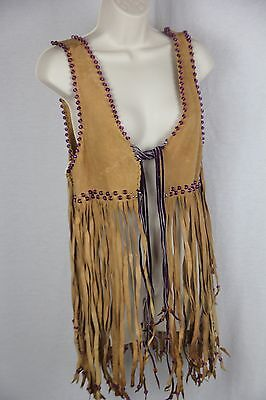Authentic vintage  1970 beige soft suede vest with fringe and beads