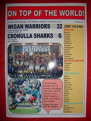 Wigan Warriors 22 Cronulla Sharks 6 - 2017 World Club Challenge - souvneir print