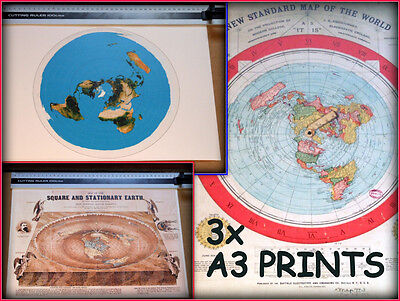3 FLAT EARTH PRINTS, GLEASON'S MAP - A3 size - SQUARE & STATIONARY - USGS MAP +