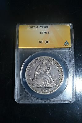 1870 Seated Liberty Silver Dollar ANACS Graded VF30