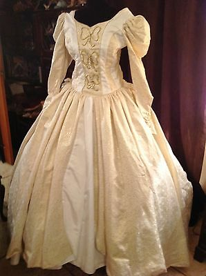 Ladies White and Gold Ball Gown Western or other Re-enactment