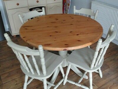 Pine table and 4 chairs. Painted in Farrow and Ball