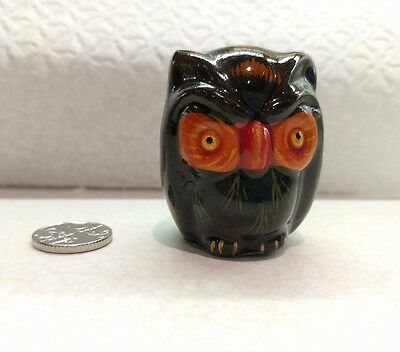 Miniature Hand Painted Ceramic Owl Ornament