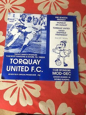 Torquay United v Sheffield Wednseday  friendly 1990
