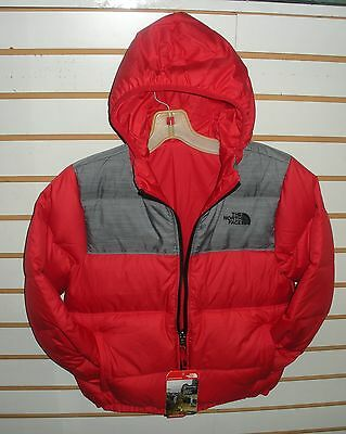 The North Face Boys Reversible Down Moondoggy Jacket- A2Tlr- Red / Grey- M,l, Xl